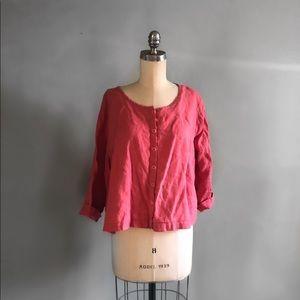 FLAX Linen Pink Blouse 1G